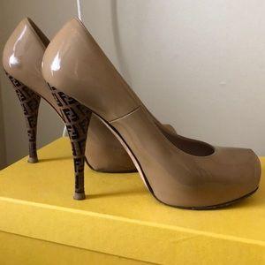 Fendi Nude Patent with Logo Heel